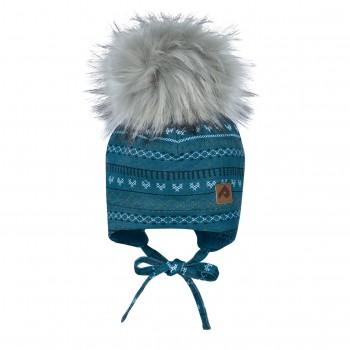 Tuque à Oreilles avec Pompon - Tricot Bleu Gris - Perlimpinpin