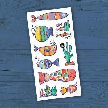 Tatouage Temporaire - Les Poissons Multicolores - Pico