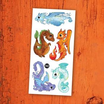 Tatouage Temporaire - Les Dragons et les éléments - Pico